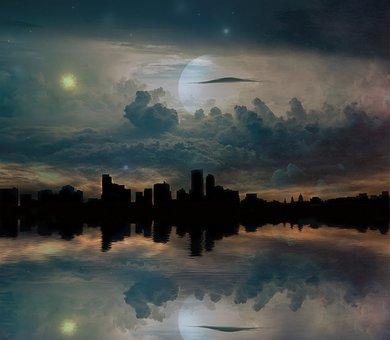 Universe, Skyline, Planets, Stars, Galaxy, City, Planet