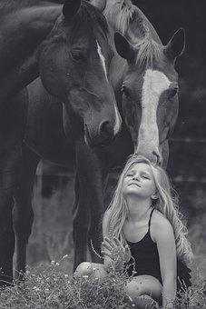 Girl, Horse, Squatting, Animal, Equestrian, Outdoor
