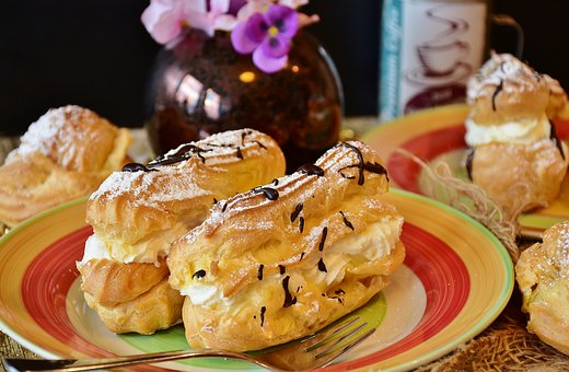 Eclairs, Pastries, Choux Pastry, Cake, Filled, Cream