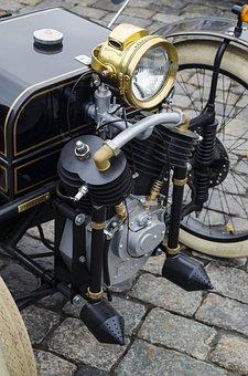 Replica, Vintage, Engine, Motorcycle, Machine, Light