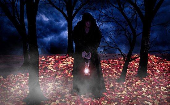 Forest, Monk, Night, Mystical, Lantern, Habit, Priest
