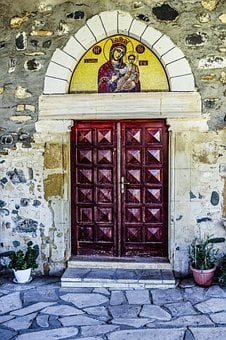 Church, Entrance, Gate, Virgin Mary, Mosaic, Old