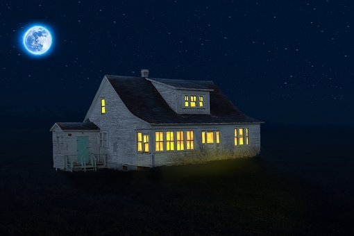 Home, Illuminated, Night, Full Moon, Old House