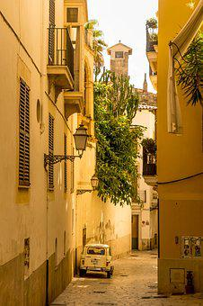 Palma De Mallorca, Alley, Summer, Old Town, Shadow