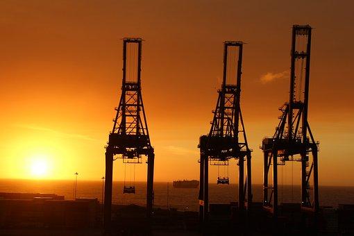 Por, Cranes, East, Shadows, Silhouette, Port