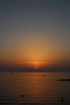 Sunset, Sea, Vertical, Background, Sky, Orange, Horizon