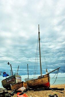 Deal Uk, England, Boat, Ship, Blue, Mast, Anchored, Sea