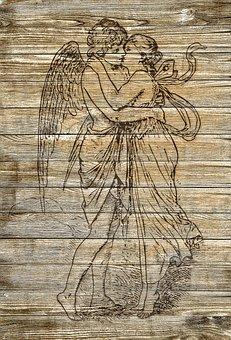 On Wood, Cupid, Pair, Kiss, Vintage, Shabby Chic