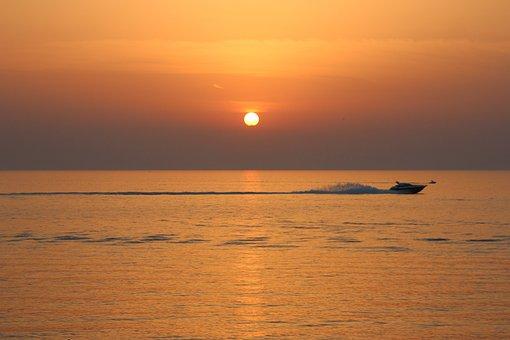Sunset, Boat, Speedboat, Sea, Horizon, Waves, Summer