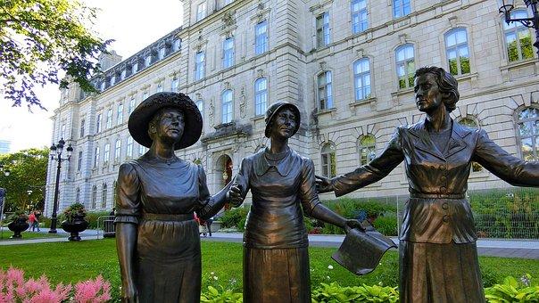 Canada, Québec, Parliament, Statues, Women