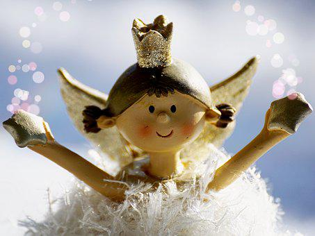 Angel, Golden, Christmas, Figure, Wing, Greeting Card