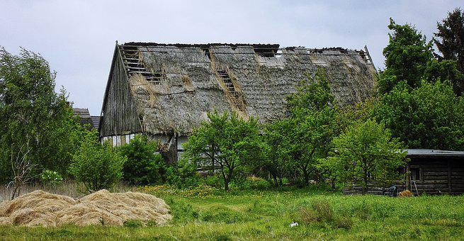 Barn, Break Up, Thatched Roof, Decay, Farm, Weathered