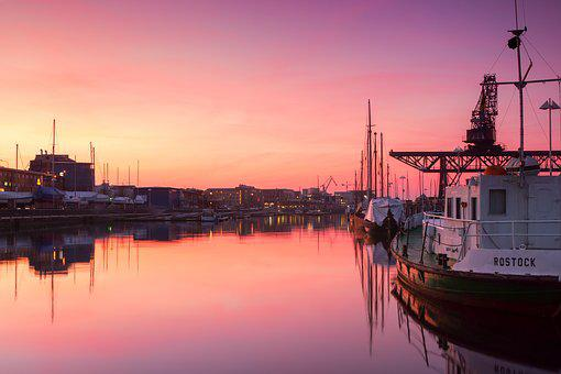 Rostock, City ​​harbor, Sunset, Water, Abendstimmung