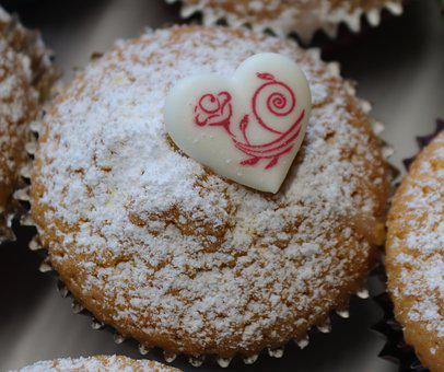 Muffins, Pastries, Bake, Ornament, Decorated, Heart