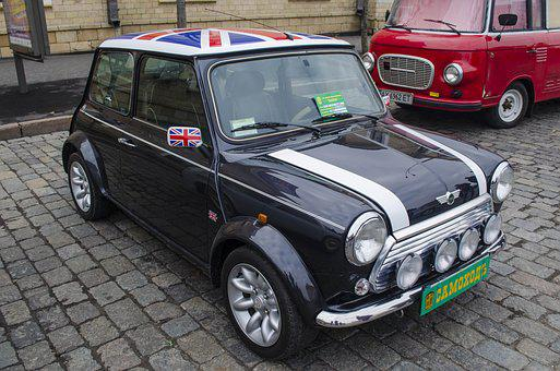 Mini, Machine, England, English, Flag, Black, Car