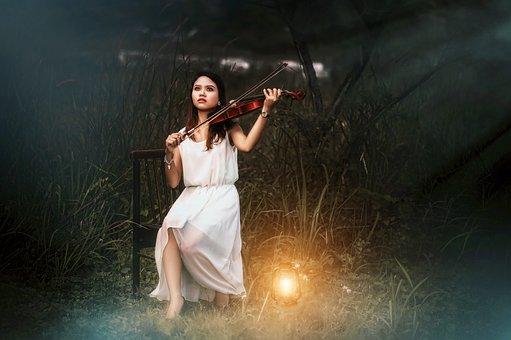 Violin, Girl, White, Playing, Music, Free Image
