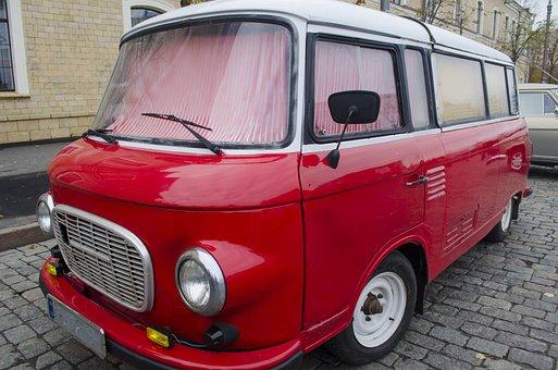 Minivan, Red, Chrome, Vintage, 60s, Old, History