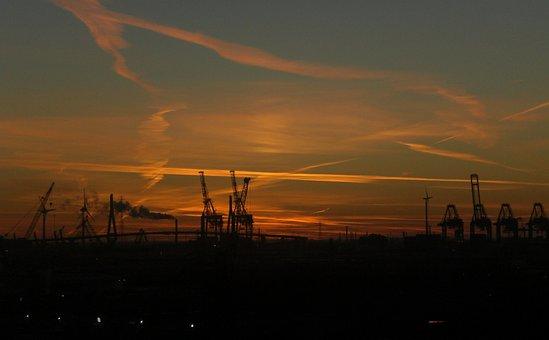 Industry, Hamburg, Abendstimmung, Port, Harbour Cranes
