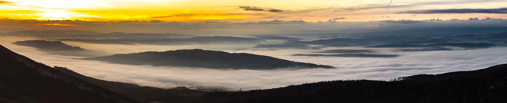 Sunrise, Fog, Morgenstimmung, Morning Sun, Fog Bank