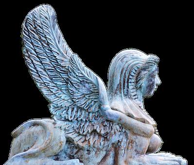 Angel, Sculpture, Wing, Face, Bronze, Statue