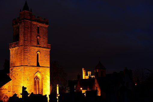 Stirling, Night, Architecture, Church Of The Holy Rude