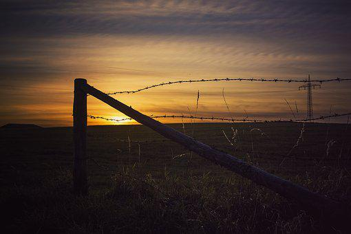 Sunset, Fence, Land, Nature, Landscape, Background