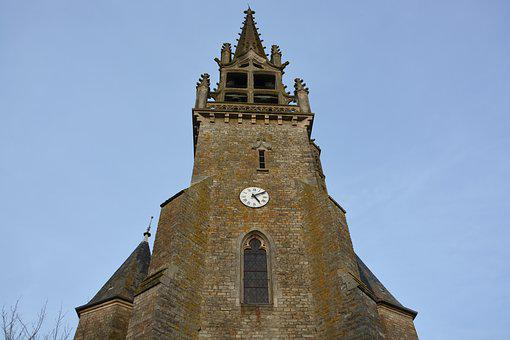 Church Acigné, Bell Tower, Brittany, Clock, Heritage