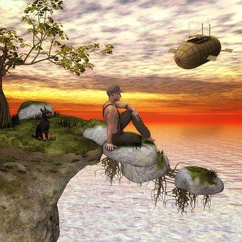 Fantasy, Man, Dog, Surreal, Landscape, Break
