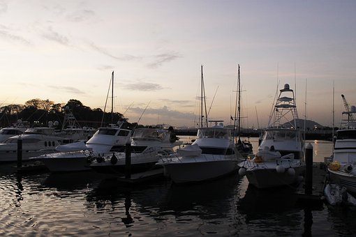Sunset, Boats, Water, Sea, Anchored, Dusk