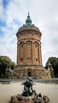 Mannheim, Water Tower, Architecture, Fountain, Germany