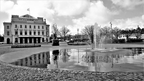 Gothenburg, Theater, Park, Fountain, Architecture