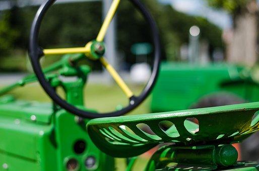 Tractor, John Deere, Farm, Field, Hay, Green, Harvest