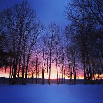Sunset, Winter, Blue, Snow, Nature, Landscape, Cold