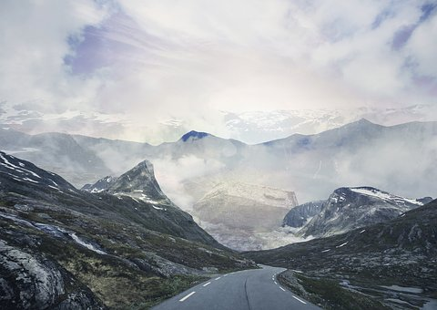 Travel, Norway, Mountains, Rocks, Wind, Road, Blue