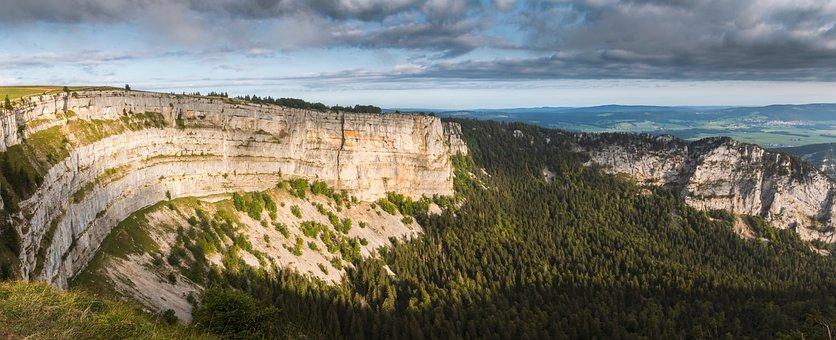 Canyon, Switzerland, Sun Beschienen, Rock, Huge, Forest