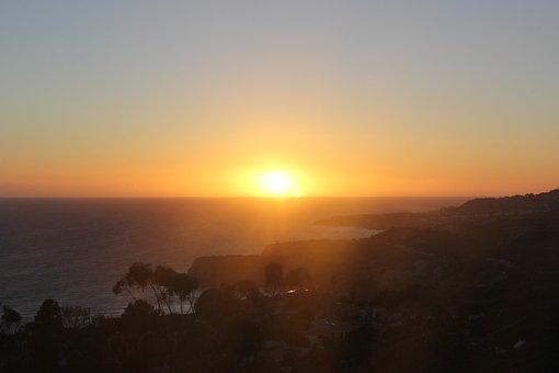 Sunset, Sea, Sky, Setting Sun, Natural Landscape, Sun