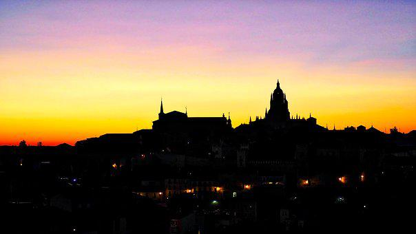 Segovia, Sunset, Lights, Sky, Profile