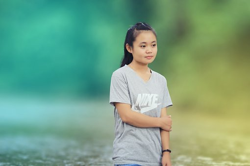 Beautiful Girl, Thinking, Color, Smile