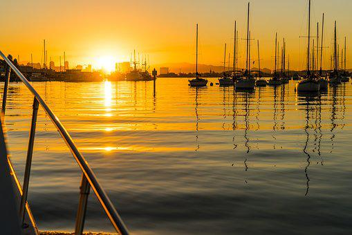 San Diego, Sunrise, Morning, Sky, Water, Boat, Boats