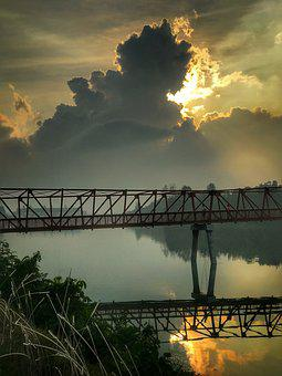 Morning, Storm, Water, Bridge, Nature, Sky, Landscape
