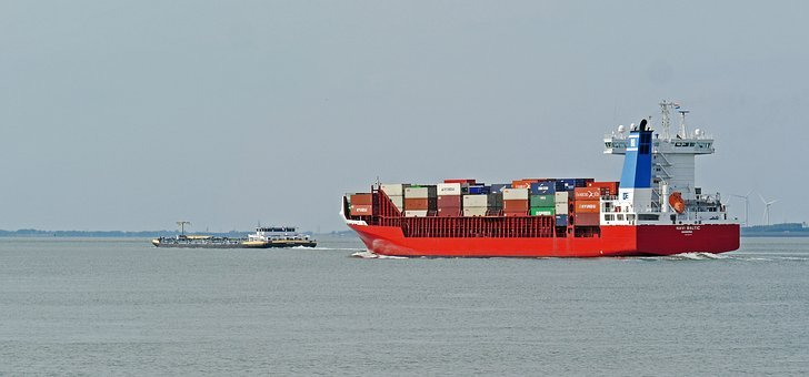 Westerschelde, To The North Sea, Container Freighter