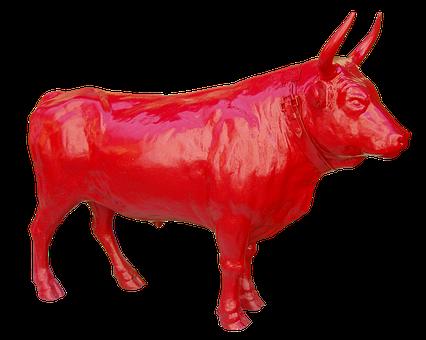 Bull, Red, Strong, Flock, Pasture, Farm, Horns, Animal