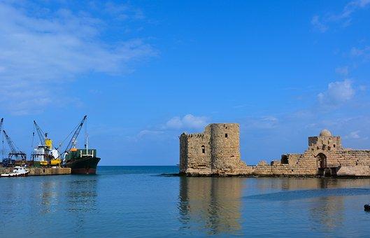 Lebanon, Seida, Saida, Blue, Water, Sea, Ship, Boat
