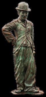 Charlie Chaplin, Statue, Bronze, Clown, Old, Melon