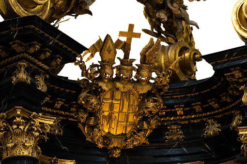 Gold, Coat Of Arms, Church, Dom, Fulda, Cross, Old