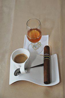 Coffee, Cognac, Cigar, Benefit From, Cover, Enjoy
