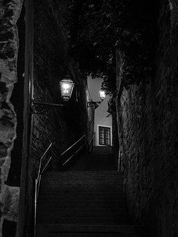 Stairway, Black And White, Dark, Lamps