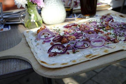 Tarte Flambée, Eat, Food, Onions, Bacon, Cream, Lunch