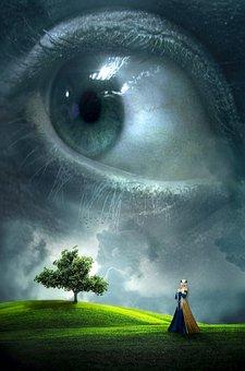 Fantasy, Book Cover, Eye, Landscape, Woman, Tree