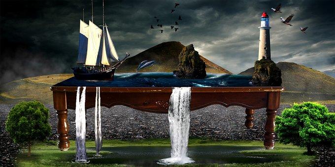 Sea, Ocean, Table, Coffee Table, Waterfalls, Fantasy
